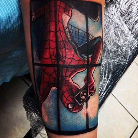 Spiderman Cam Tattoo Male Forearm