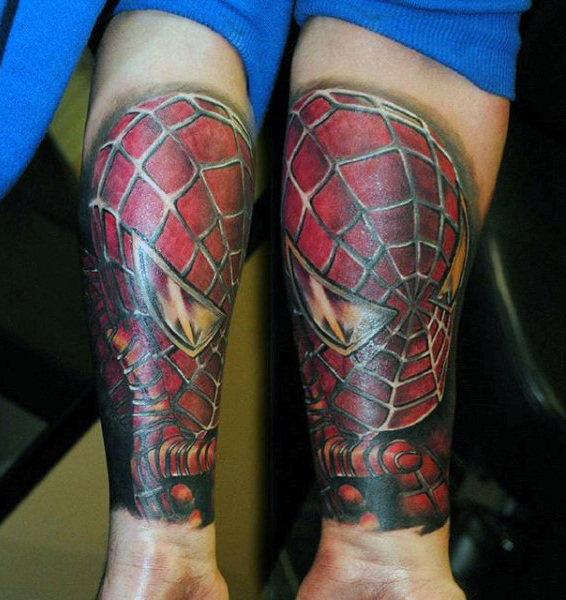 Spiderman Sheeny Tattoo Male Forearms