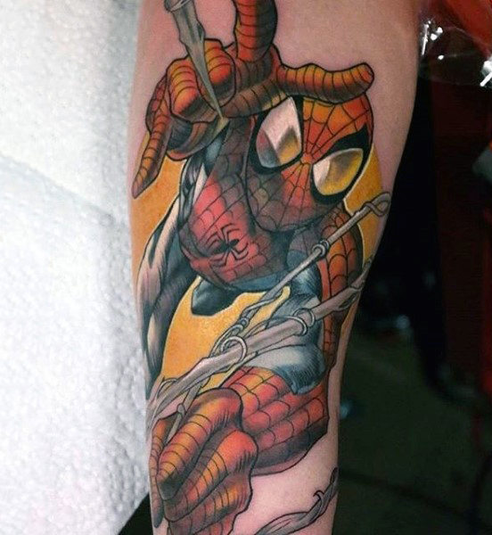 Violent Spiderman Tattoo Male Forearms