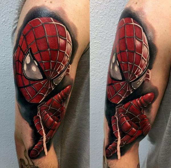 Guys Arm Spiderman Tattoos