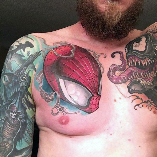 Guys ทรวงอก Tattoo Spider Man