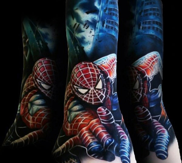 Guys Forearms มหัศจรรย์ Spiderman Tattoo