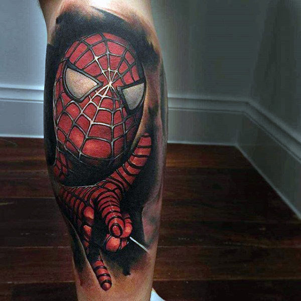 ขาคน 3D Spiderman Tattoo