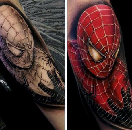 ชาย Forgetms Spiderman Tattoo