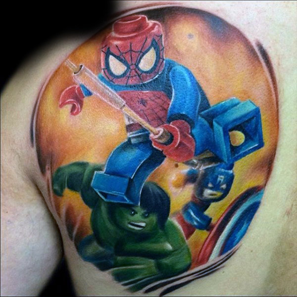 Mens Back เลโก้ Spiderman Tattoo