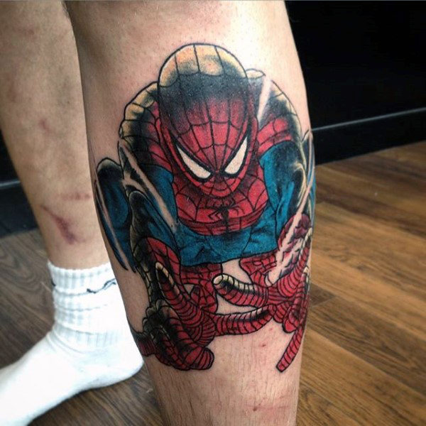 Mens Calves Spiderman Tattoo