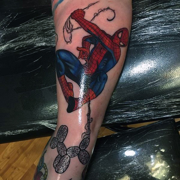เงา Spiderman Tattoo Forearms ชาย