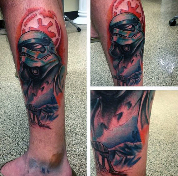 Cool Watercolor Stormtrooper Mens Tatuagens Perna Inferior