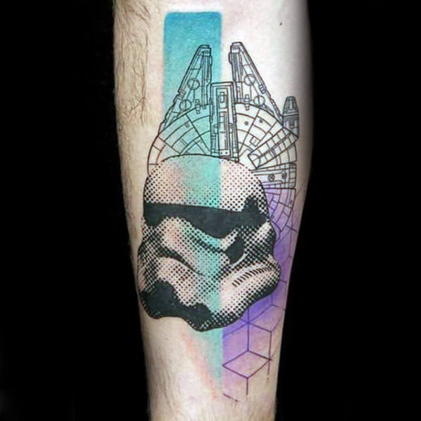 Capacete abstrato geométrico e do Dottro Stormtrooper de Dotwork e do indivíduo do navio Tattoo do antebraço