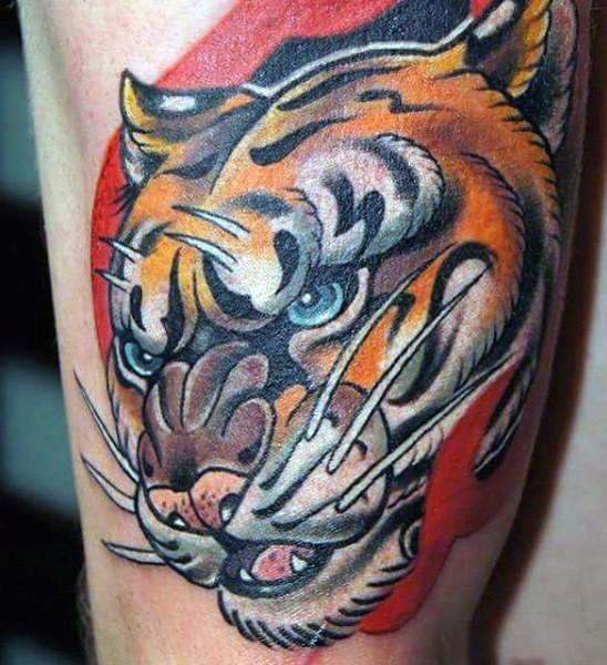 男's Chinese Tiger Tattoos