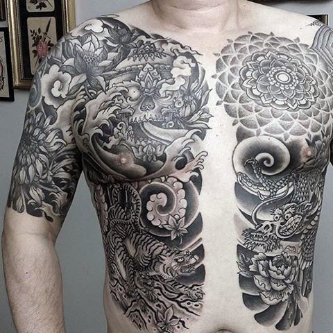 男性's Black Tiger Tattoos On Chest