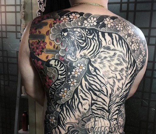 男性's Japanese Tiger Tattoo
