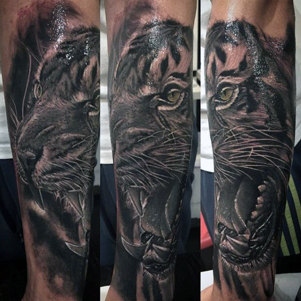 男性's Tiger Head Tattoo