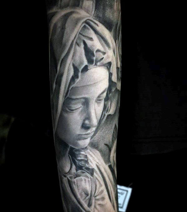 Awesome Virgin Mary Onderarm Sleeve Tattoo op man