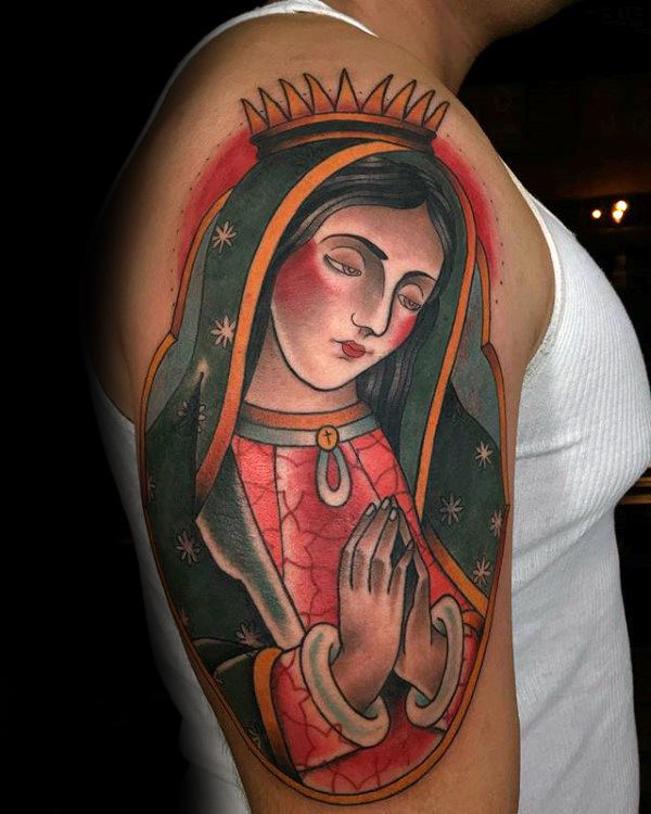 Projetos coloridos do tatuagem do braço superior de Mary Mary Guys