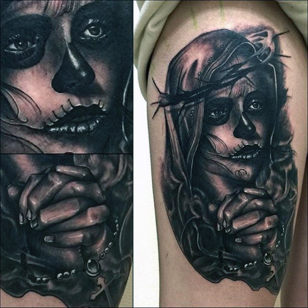 Dia dos mortos virgem maria mens tattoos braço superior