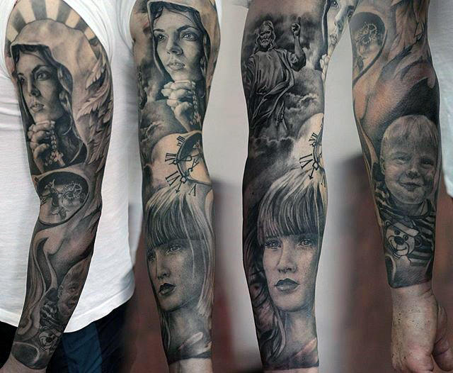 Full Arm Sleeve Herenportret Virgin Mary Tattoos