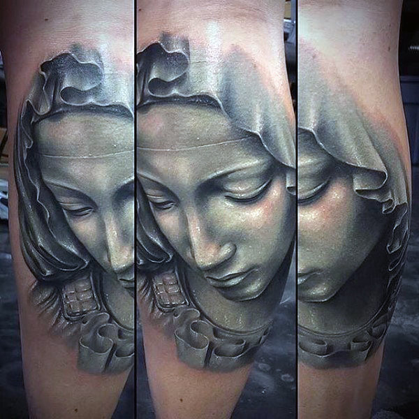 Kerels 3d Maagdelijke Mary Leg Calf Tattoos