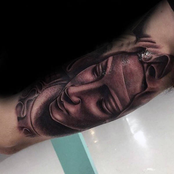 Inner Arm Virgin Mary Bicep Mens Shaded Tattoo Designs