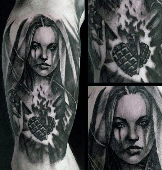 Inner Arm Virgem Maria Flaming Heart Tattoos For Men