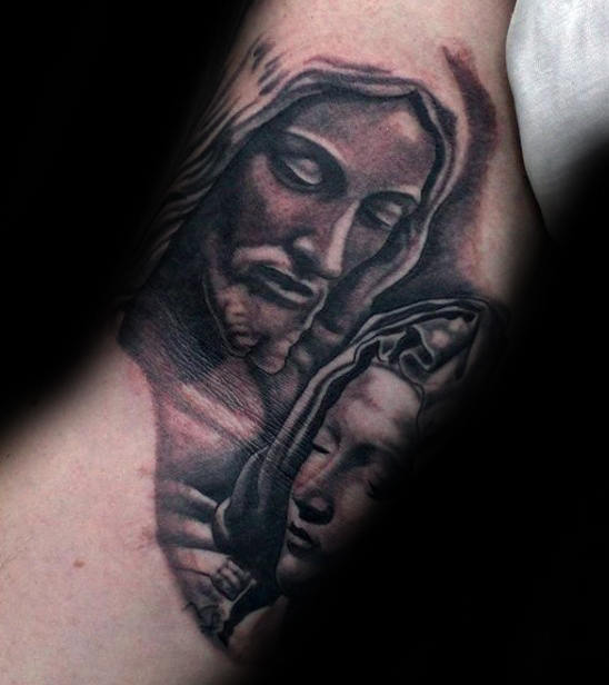 Jesus e Virgem Maria Mens Inner Arm Bicep Tattoos
