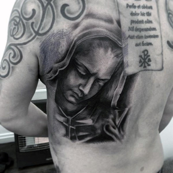 Mens terug Maagdelijke Mary Dark Shaded Tattoo Designs