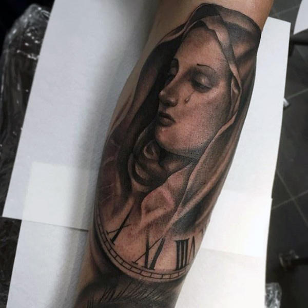 Relógio numeral romano Mens Virgin Mary Shaded Tattoo Ideas