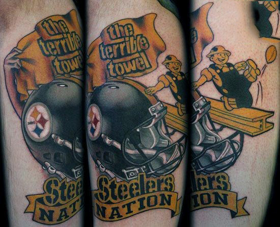 Heren Pittsburgh Steelers Nation Themed Arm Tattoos