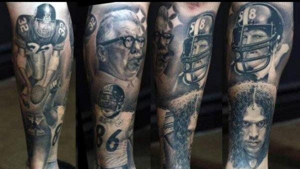 Mens Shaded Pittsburgh Steelers Memorial Themed Leg Sleeve Tattoo Design ideeën