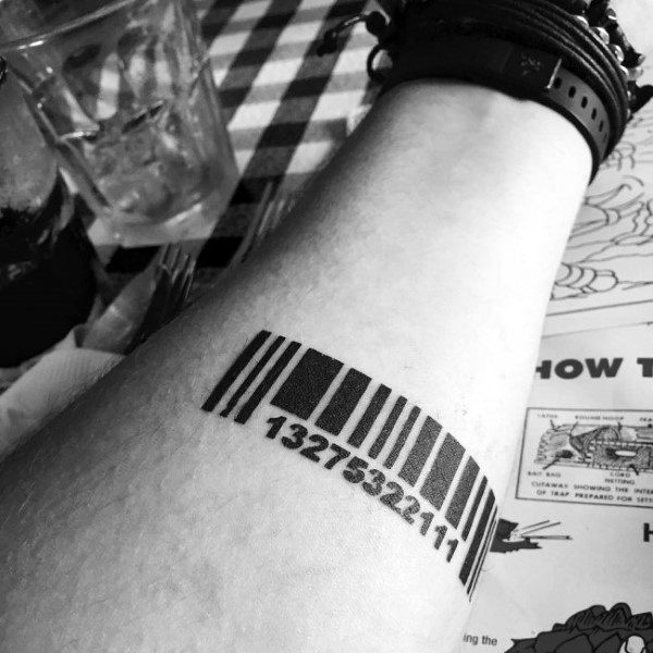Bold Black Ink Barcode Male Tattoo On Inner Forearm