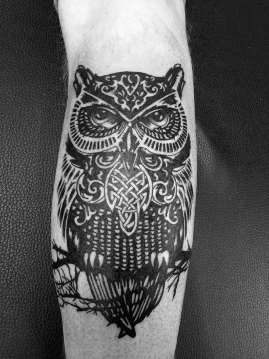 Incredible Leg Calf Celtic Owl Tattoos For Men