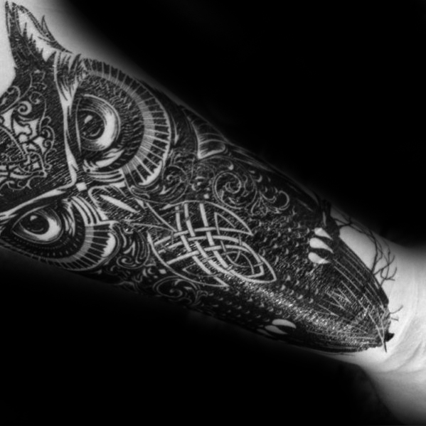 Innerlijke voorarm Awesome Ink Celtic Owl Tattoos For Men