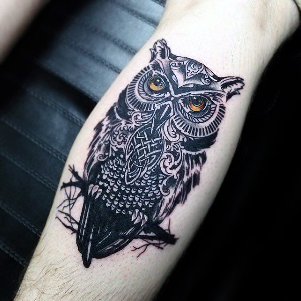 Leg Calf Mens Cool Celtic Owl Tattoo Ideas