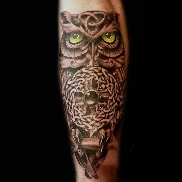Manly Celtic Owl Buiten Onderarm Tattoo Design Ideas For Men
