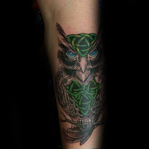 Mens Green Knot Celtic Owl Onderarm Tattoo Design Ideas