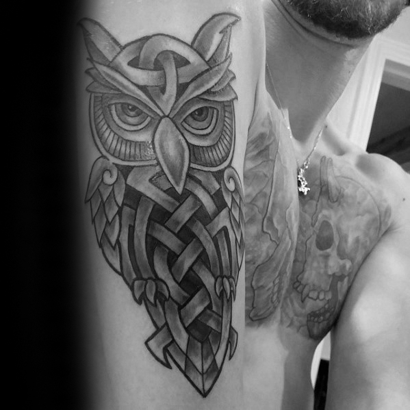 Outer Arm Mens Celtic Owl Tattoo Design Inspiration