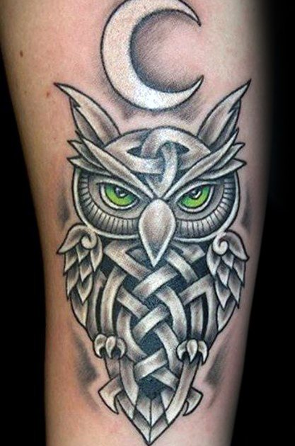Witte inkt Tribal Arm Celtic Owl Guys Tattoo ideeën