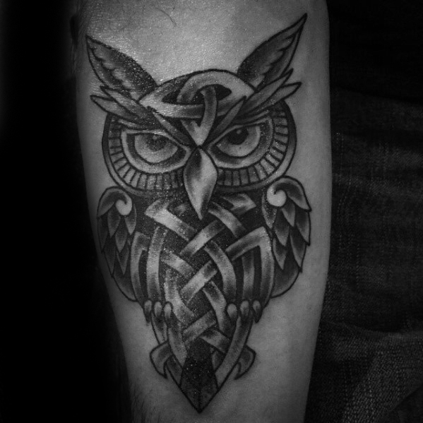 Voorarm Keltische Owl Mens Tattoo Ideas