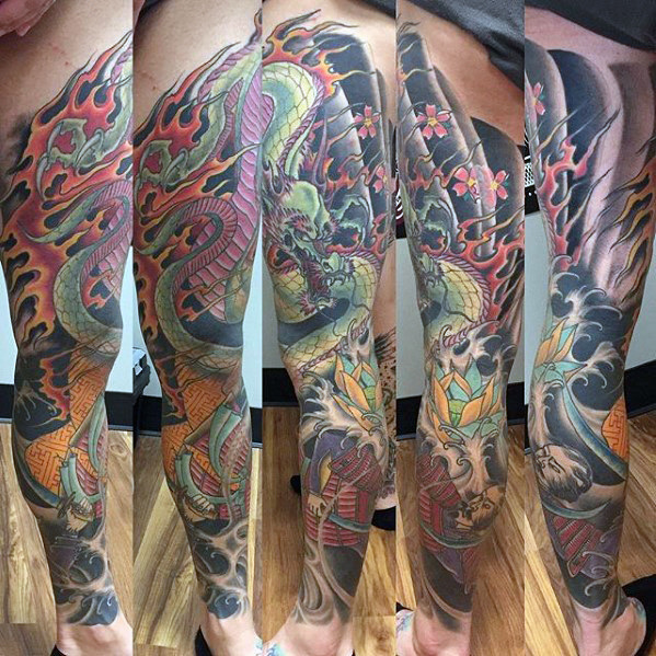 Japanse Dragon Full Leg Sleeve Heren Tattoos