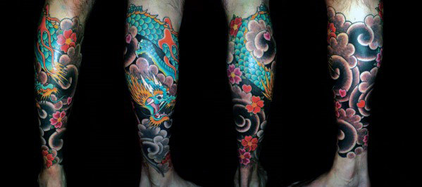 Japanse mannelijke Dragon Lower Leg Tattoo Ideas