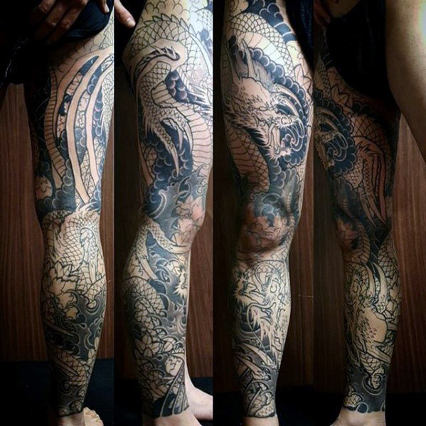 Mannelijke Dragon Themed Guys Full Leg Sleeve Tattoo Designs