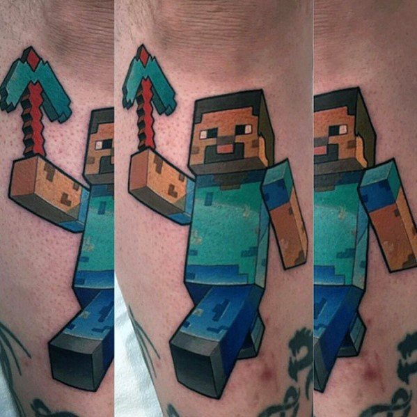 Coole Male Minecraft Tattoo Designs