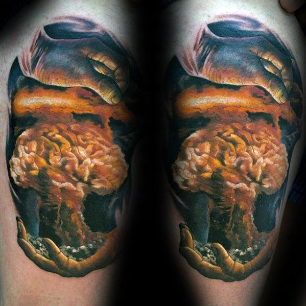 Niesamowite męskie wybuchy Mushroom Cloud Brain Arm Tattoo Designs