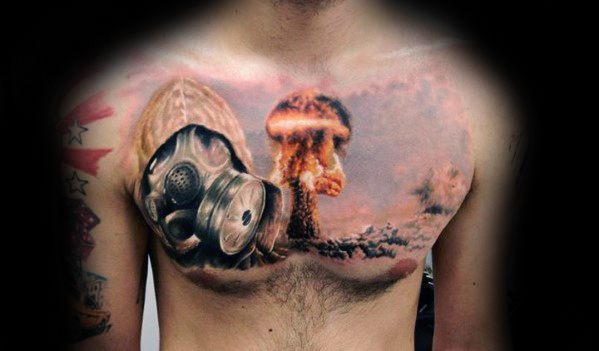 Górny Chest Mens Mushroom Cloud Tattoo Ideas