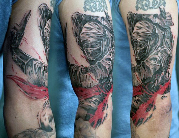 Mens Covert Agent Ninja Arm Tattoo