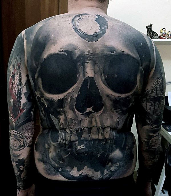 3D Skull Badass Guys Shaded realistische Rückseite Tattoo
