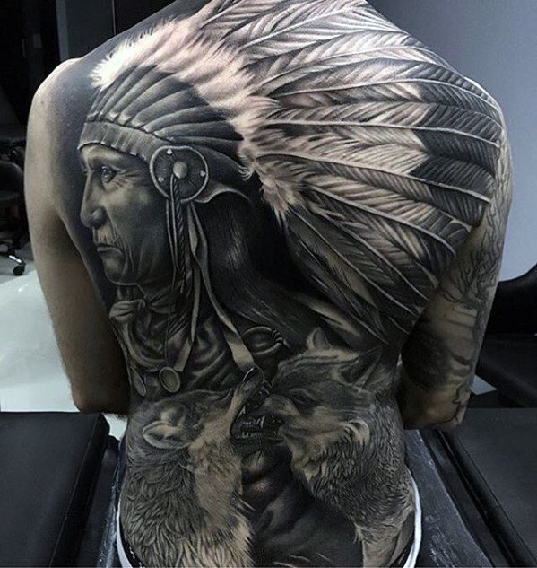 Mens Badass indianische Indianer Themen Full Back Tattoos