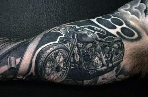 Gentleman With Brass Knuckles Negative Space Tattoo Rękaw motocyklowy
