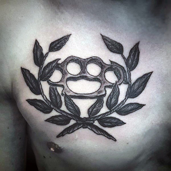 Olive Branch Brass Knuckles Mens Chest Tattoo
