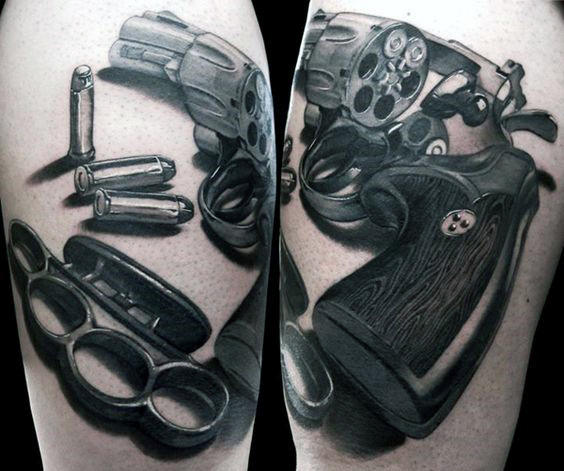 Revolver With Brass Knuckles Mens Arm Tattoo Designs